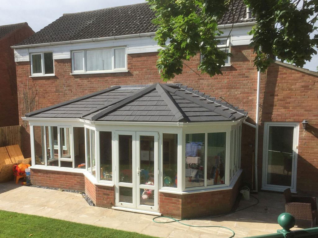 P Shaped Tiled Conservatory Roof Ascot