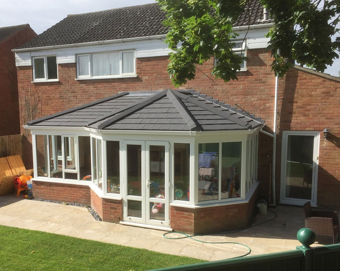 P Shaped Tiled Conservatory Roof