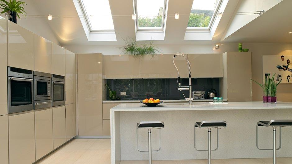 Kitchen Pitched Roof Island Velux Skylights